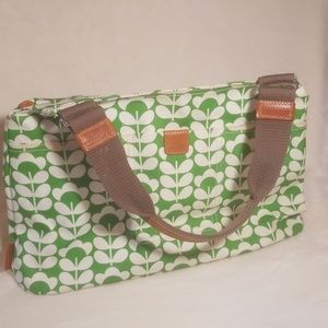 Oria Kiely coated canvas purse green and white